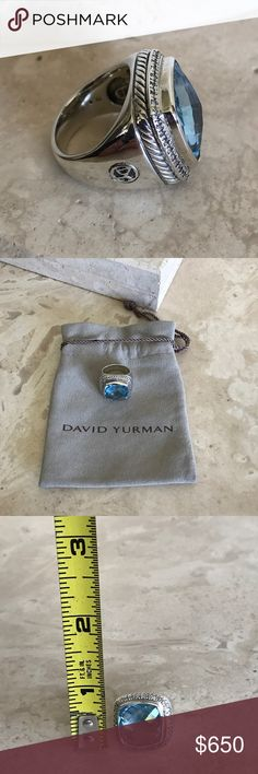 David Yurman Sterling silver diamond ring Vintage David Yurman sterling silver 16 mm blue Topaz diamond ring, pre-owned looks brand-new comes with yurman pouch. Sizable David Yurman Jewelry Rings