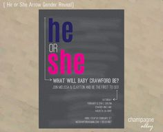 Gender Reveal Invitation He or She Arrow by ChampagneAlleyDesign
