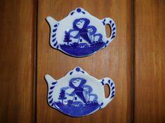 Set of Two Delft Blue Holland Porcelain Saucers  by ChicAvantGarde,