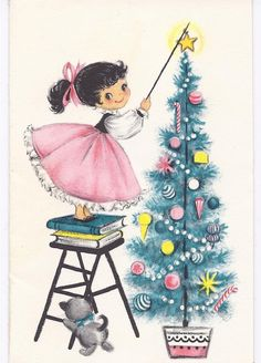 Vintage used Greeting Card Christmas Girl & Tree in Pink