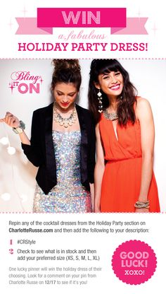 Win a party dress from Charlotte Russe!  1. Click on the pin and pin your favorite dress. 2. Include #CRstyle and your preferred size in the description.   1 random winner announced on 12/17! XOXO!