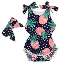 Baby Girls' Pom Pom Romper with Headband- Infant, Toddler