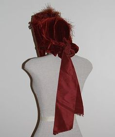 a beautiful example of an 1860s high spoon bonnet of silk velvet