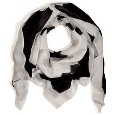 BY MALENE BIRGER Wool Bangiola Scarf in Black ($105) ❤ liked on Polyvore featuring accessories, scarves, black scarves, woolen shawl, woolen scarves, print scarves and by malene birger
