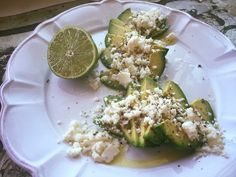 Sliced avocado, crumbled cojita cheese, squeezed lime juice, poured olive oil, sprinkled Hickory Smoke salt.   #TangieTip