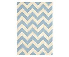Handgetuft wollen tapijt Highway, blauw/ivoor, 152 x 243 cm