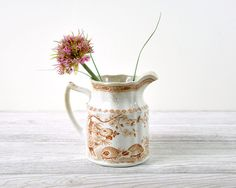 Vintage Brown Transferware Small Pitcher / Ceramic Pitcher