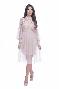 Rochie de ocazie dantela roz prafuit din tul cu broderie dantela   MyFashionizer Wedding Flowers, Dresses, Fashion, Embroidery, Vestidos, Moda, Fashion Styles, Dress, Fashion Illustrations