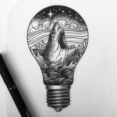 Available. People like sharks and light bulbs right? .# #btattooing @blacktattooing #blackworkers_tattoo #blackworkerssubmission @blackworkers @blacktattooart @darkartists #dotworktattoo #igdaily #illustration #blacktattoos #shark #greatwhite #lightbulb