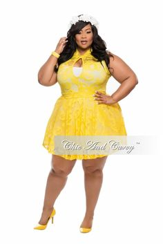 New Plus Size Skater Dress with Cutout in  Yellow Lace - Chic And Curvy