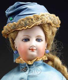 Bisque Doll; Bru, Fashion Lady, Blue Threaded Eyes, Closed Smiling Mouth, 16 inch.