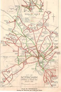 Map of bus and trolley bus services in Nottingham, Old World Maps, Old Maps, Old Pictures, Old Photos, Nottingham Map, Bus Map, Transport Map, World Map Printable, Train Map