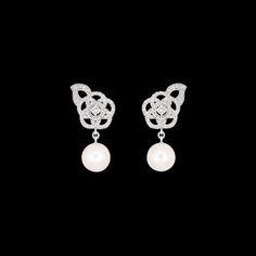 Pendientes Camélia en oro blanco de 18 quilates, perles y diamantes - CHANEL