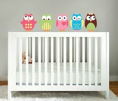 Kids set of 5 owls vinyl wall decal cute for a nursery or childs room or along a crib on Etsy, $43.48