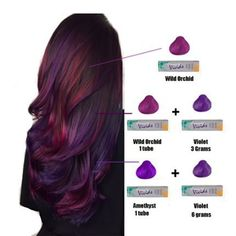 Lil breakdown of the colors used for hair I forgot the dang plus sign for the bottom color, but you get the idea in both mixtures I only used a tiny bit of Jen VandenBos violet is one strong motha. I used all diagonal sections, per usual. Hair Color And Cut, Cool Hair Color, Ombre Hair, Balayage Hair, Haircolor, Balayage Color, Pravana Hair Color, Blonde Color, Color Red