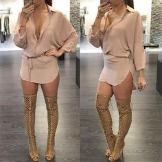 Women's Sexy Deep V Neck Long Sleeve Hollow Out Solid Slim Casual KhakiTop Blouse T Shirt