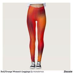 Red/Orange Women's Leggings #Leggings #Yoga #Pants #Activewear #Sports #SportsWear #Athletic #Fashion #Design