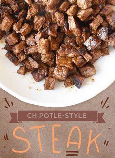 Chipotle Style Steak plus more Chipotle Recipes Chipotle Steak Recipes, Chipotle Menu, Meat Recipes, Mexican Food Recipes, Cooking Recipes, Chipotle Bowl, Steak Burrito Recipe, Chipotle Chicken Copycat, Recipes