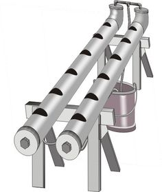 Hydrocultuur zelfbouw voorbeeld, eenvoudige constructie van pvc buizen op schragen met een dompelpomp in retourvat. Hydroponie doe het zelf bouwtekening.