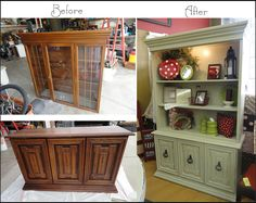 Skitt A Skatt: Saving Money by Refinishing  This is exactly what I want to do with my hutch!!!!