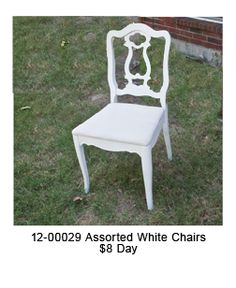Assorted white Chairs (6 total) Chairs For Rent, Chairs For Sale, Restoration Hardware Chair, Dining Chairs, White Chairs, Furniture, Home Decor, Decoration Home, White Dining Chairs