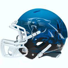 Football Helmet Design, College Football Helmets, Nfl Football, Panther Football, American Football, Carolina Panthers Helmet, Carolina Panthers Football, Nfl Panthers, Panther Nation