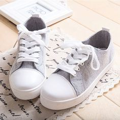 New Gray Patchwork Canvas Sneakers