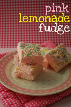 Girl baby shower party favor or food. Use the pearly white sprinkles. Pink Lemonade Fudge from the domestic rebel