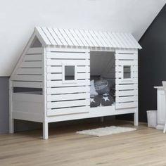 Spielbett Kinderbett BAUMHÜTTE für schräge Wände/Dachschrägen, weiss, Massivholz