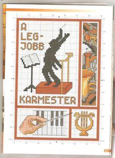 Gallery.ru / Фото #45 - Keresztszemes magazin 73 - tymannost Cross Stitch Music, Cross Stitch Embroidery, Cross Stitch Patterns, Music Instruments, Teachers, Dots, Punto De Cruz, Counted Cross Stitch Patterns, Punch Needle Patterns