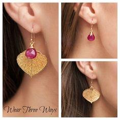 gold aspen leaf and gemstone briolette earrings