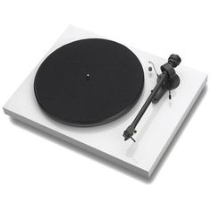 black and white record player