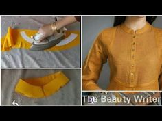 kurti collar neck cutting Simple & Easy Method - Cutting & Stitching tutorial Today I'll show you how to cut a neck collar in very easy way and you can also . Neck Designs For Suits, Dress Neck Designs, Collar Designs, Sleeve Designs, Kurti Patterns, Dress Sewing Patterns, Blouse Patterns, Collar Kurti, Kurti Neck