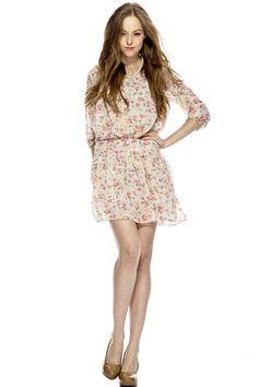 Floral Print Bound Waist Dress $74.00