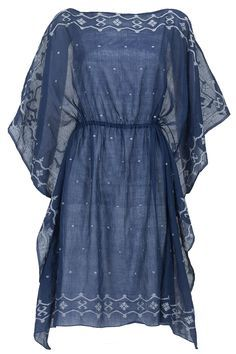Blue and ivory kaftan dress available only at Pernia's Pop-Up Shop. Kaftan Designs, Kurta Designs Women, Salwar Neck Designs, Blouse Designs, Girls Fashion Clothes, Fashion Dresses, Clothes For Women, Pakistani Dresses Casual, Casual Dresses