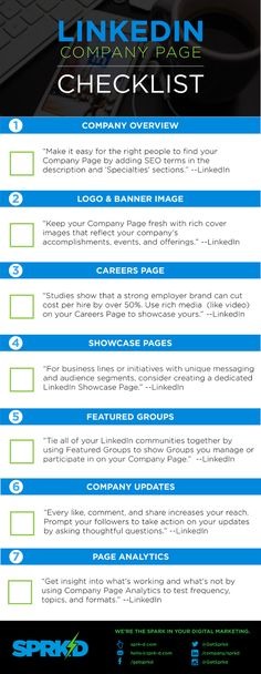 A LinkedIn Company Page, the perfect vehicle for businesses—particularly B2B companies—to promote their products/services, recruit the best talent and share interesting and useful information. Use this checklist to create the perfect LinkedIn company page