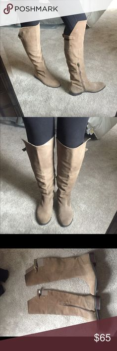 🔴 sale/Sole Society knee high boots, size 8. Sole Society knee high taupe suede boots, size 8.  Never worn! Great condition! Sole Society Shoes Over the Knee Boots