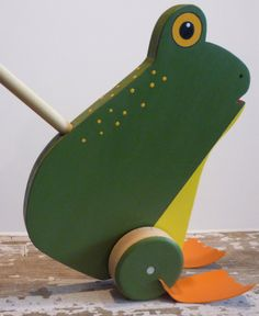 Items similar to Toy Frog Push Toy - Green with Yellow Belly - Bug Eyed Wooden Frog Push Toy - Handcrafted Wooden Green Yellow Bellied Bug Eyed Frog Push Toy on Etsy