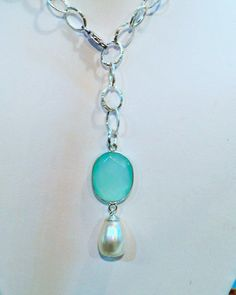 Natural Aqua Chalcedony & Freshwater Pearl - .925 hammered sterling silver cable lariat necklace
