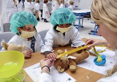 """""""A teddy is measured at the Teddy Bear Hospital in the AMC Hospital in Amsterdam on November 6, 2012. The Teddy Bear Hospital aims to make children comfortable with hospitals and doctors."""