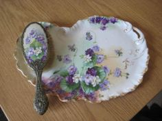 Limoges Hand Painted Dresser Vanity Tray w Brush