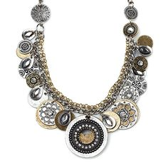 """-TIMES SQUARE- """"A bold blend of mixed textures and intricately designed gold and silver discs will put you right at the center of attention. It's stunning as a single necklace or layered for a more dynamic look."""" http://LMAWBY.mialisia.com"""
