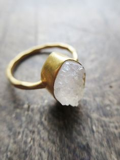 White Druzy Ring, Raw Crystal Ring, Modern Minimal Jewelry, Matte Gold Ring, Hammered Gold and Crystal Ring