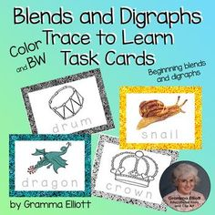Beginning Blends and Digraphs Trace Words Cards for home and School color BW