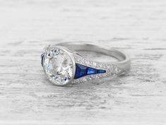 1.94 CARAT BOUCHERON EARLY ART DECO DIAMOND AND SAPPHIRE RING