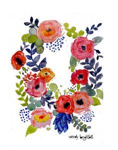 Watercolor Floral Wreath Art Print 11 x 14 by agirlandherbrush