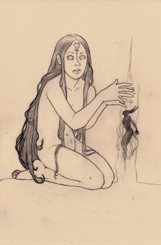 Young Witch, pencil on paper