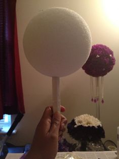 DIY Pomander Centerpiece...Round 3 :  wedding carnation centerpiece diy pearls pomander purple Pomander Handle