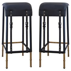 Pair of Black Stitched Leather Bar Stools by Jacque Adnet.   From a unique collection of antique and modern stools at https://www.1stdibs.com/furniture/seating/stools/