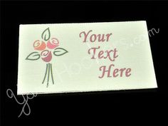 Rose Bouquet - Iron on / Sew In - 100% Cotton Fabric Labels (White), $11